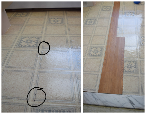 Install peel and stick vinyl floor planks in the bathroom for Stick on linoleum tiles