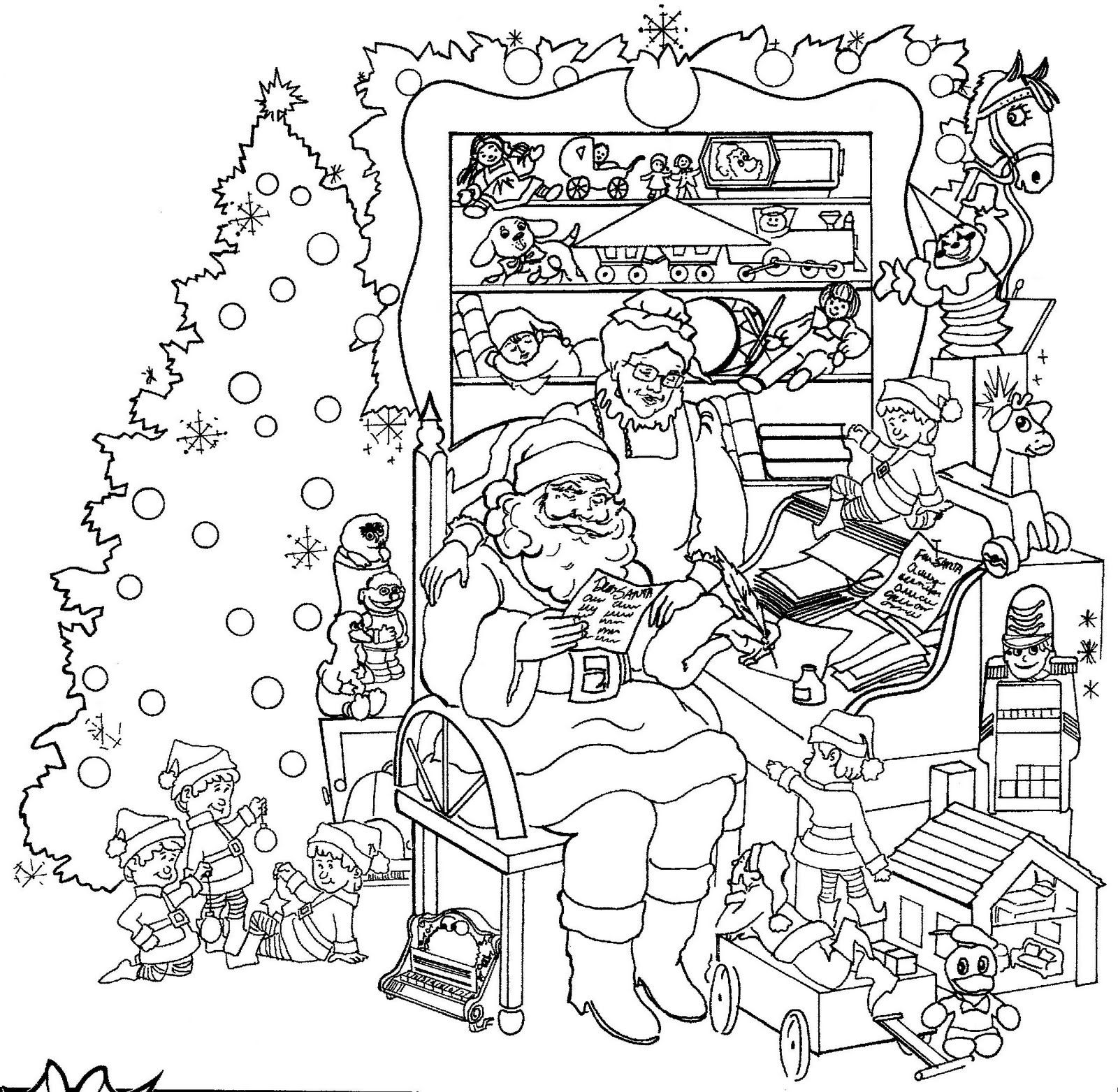 Detailed colouring pages for adults - Detailed Christmas Coloring Pages