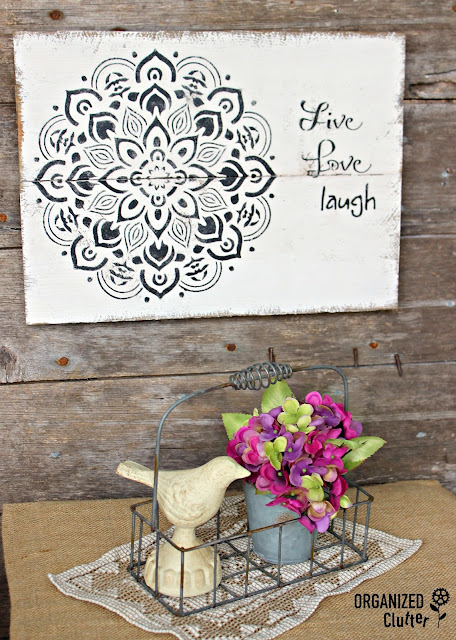 Rustic Boho Sign with Mandala Stencil Design organizedclutter.net