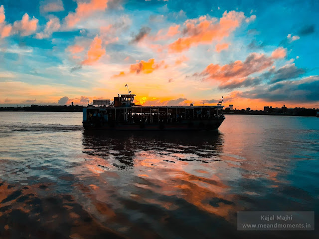sunset, beautiful sunset, sunset at hooghly river, millennium park sunset, river ganga, ganga ferry