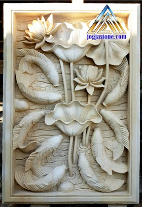 Ukiran Relief lotus sembilan ikan koi batu alam