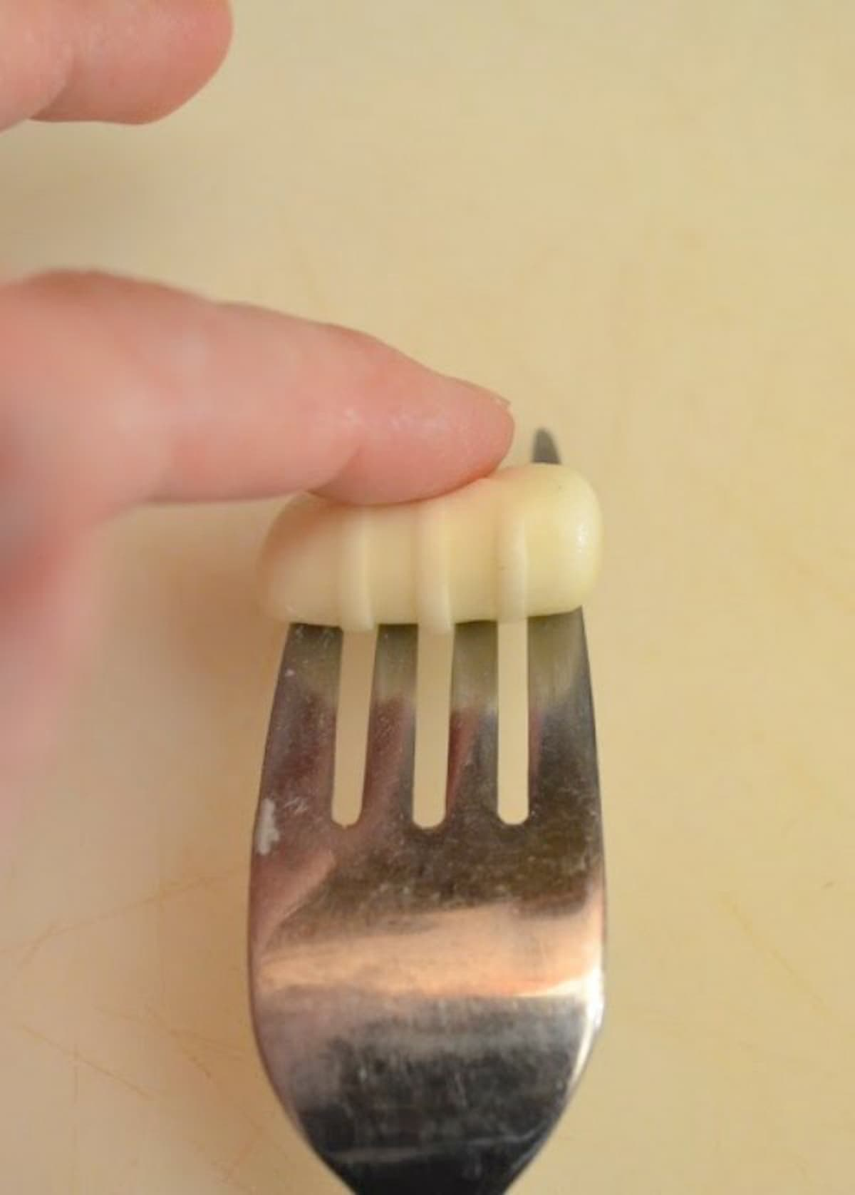 Fork print from being rolled down fork tines on Buttermint.