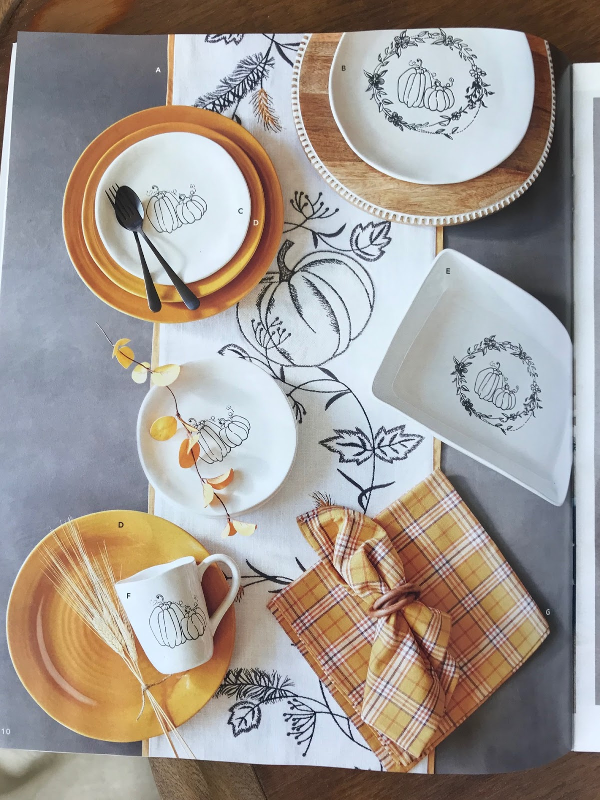 fall tablescape with blacks whites and yellows