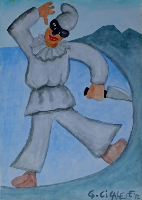 PULCINELLO PAZZERELLO (2012) acquerello (29x21)