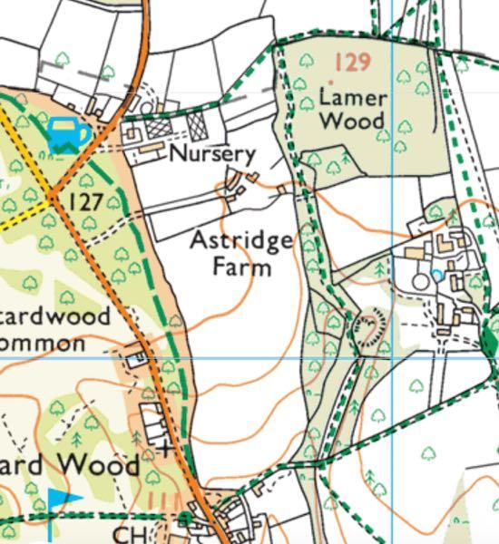 Screen grab of OS app generated map for walk 64 Gustard Wood Loop