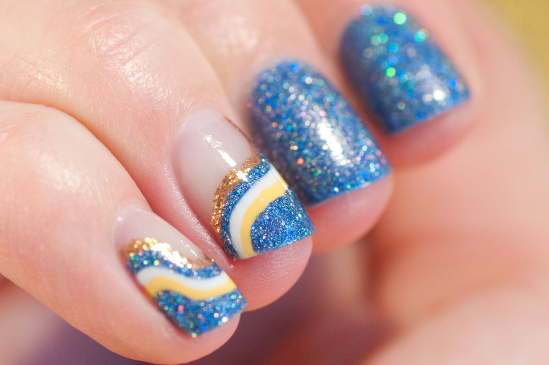 Blue Swirl Nail Art using Glam Polish Crash