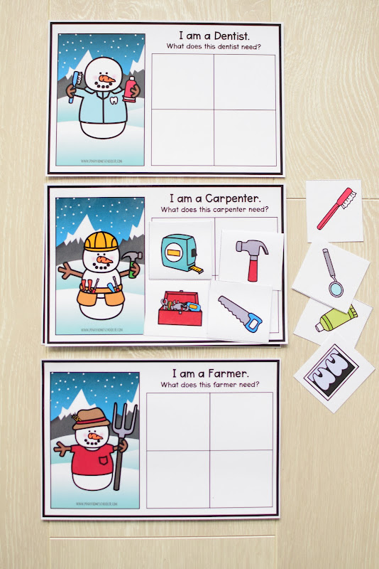 Winter Theme Learning Pack: Snowman Jobs Matching Activity