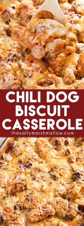 Chili Dog Biscuit Casserole #maincourse #chili #dog #biscuit #casserole