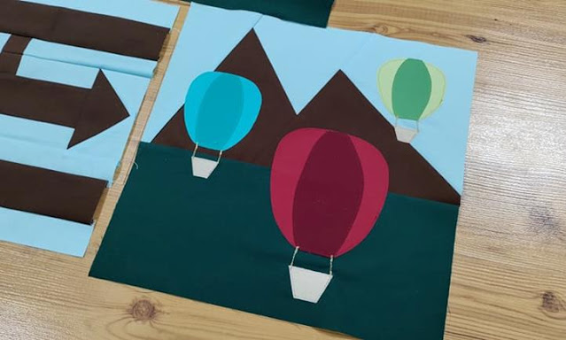 Hot Air Balloon quilt block