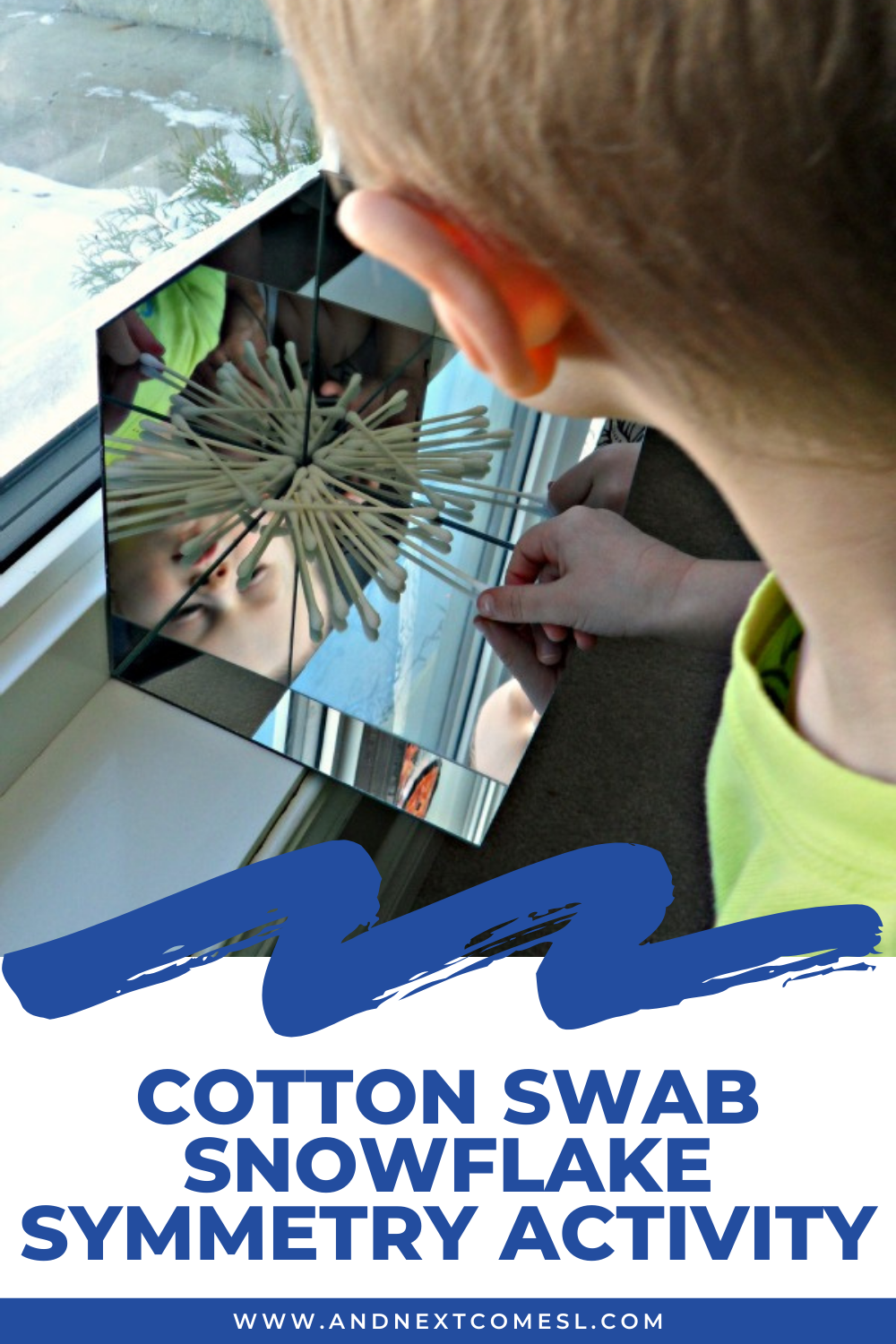 Explore symmetry by making cotton swab snowflakes in a DIY mirror box with this simple preschool symmetry activity