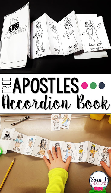 Free 12 Apostles accordion style mini book is the perfect activity for kids learning about the followers of Jesus.