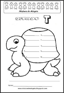 Treino ortográfico letra T de tartaruga