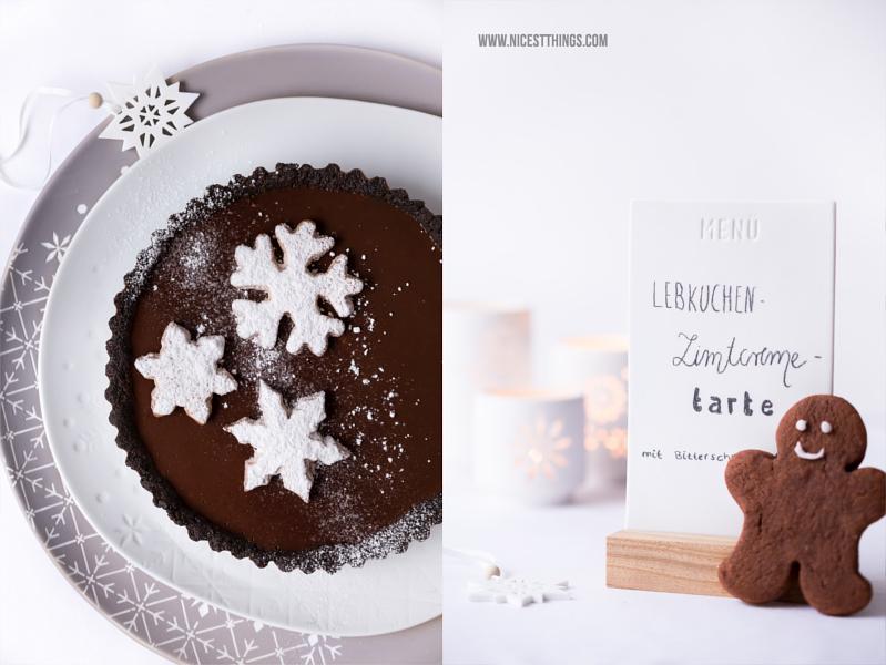 Weihnachtliche Tarte mit Lebkuchen, Zimt, Schokolade und Schneeflocken Cookies