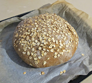 image no knead wholemeal spelt and oatmeal loaf