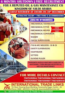 Maintenance Company Free Recruitment for Saudi Arabia