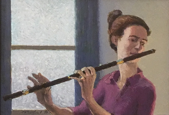 Egg tempera painting of woman playing an old fashioned wooden flute. Outside the window, snow is falling about in swirling vortices