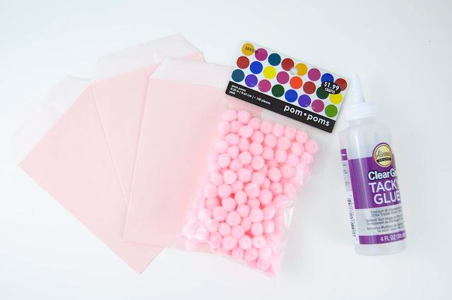 Pom Pom Treat Bags with Jen Gallacher from www.jengallacher.com #pompoms #treatbags #jengallacher #alphabetstickers #taffy