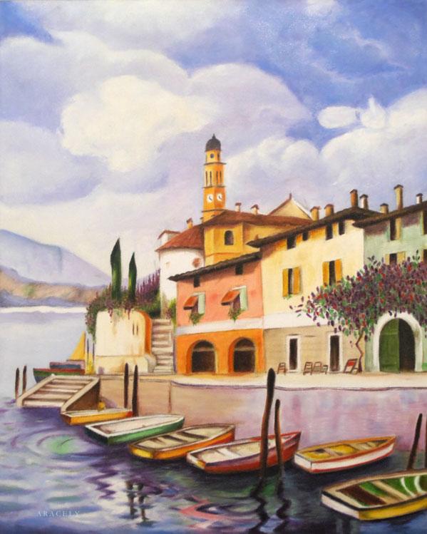 paisaje marino oleo veneciano