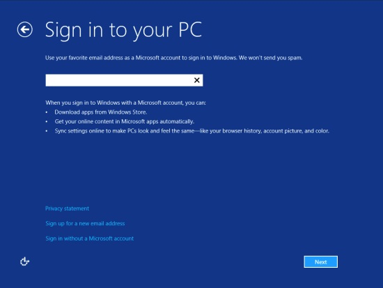 A quick installation, and you're on your way to Sign in to the PC