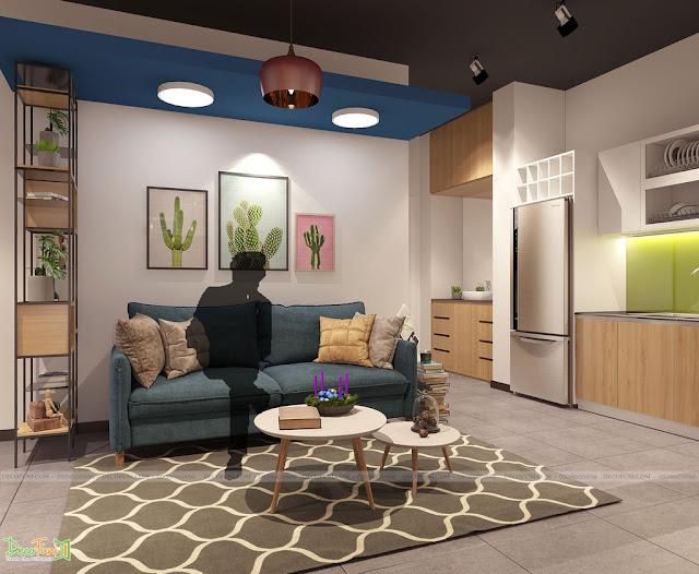 Bộ sofa vừa là nơi tiếp khách cũng vừa là nơi làm việc, tận dụng tối đa không gian của căn hộ - Thiết kế và thi công nội thất căn hộ chung cư Officetel
