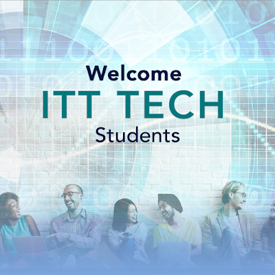 "poster that reads, ""welcome ITT Tech students."" Image of a diverse group of students socializing"