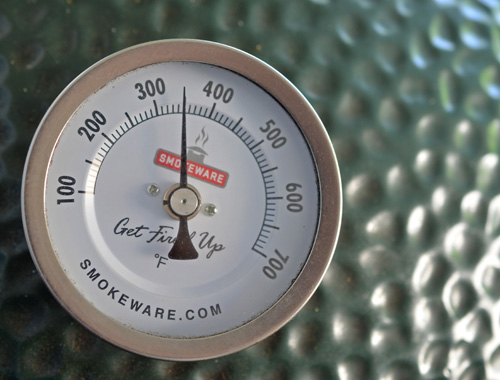 Smokeware thermometer on a Big Green Egg