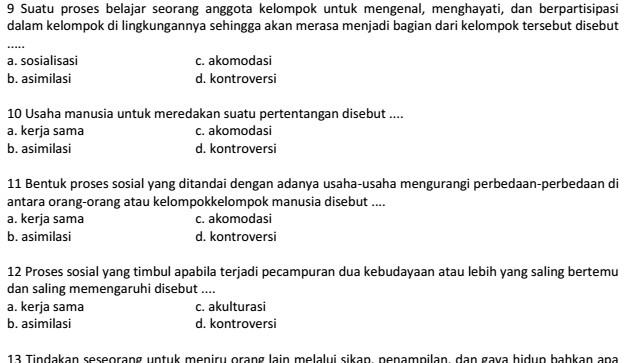 Contoh Soal UAS IPS SMP Kelas 7 Semester 1 Kurikulum KTSP