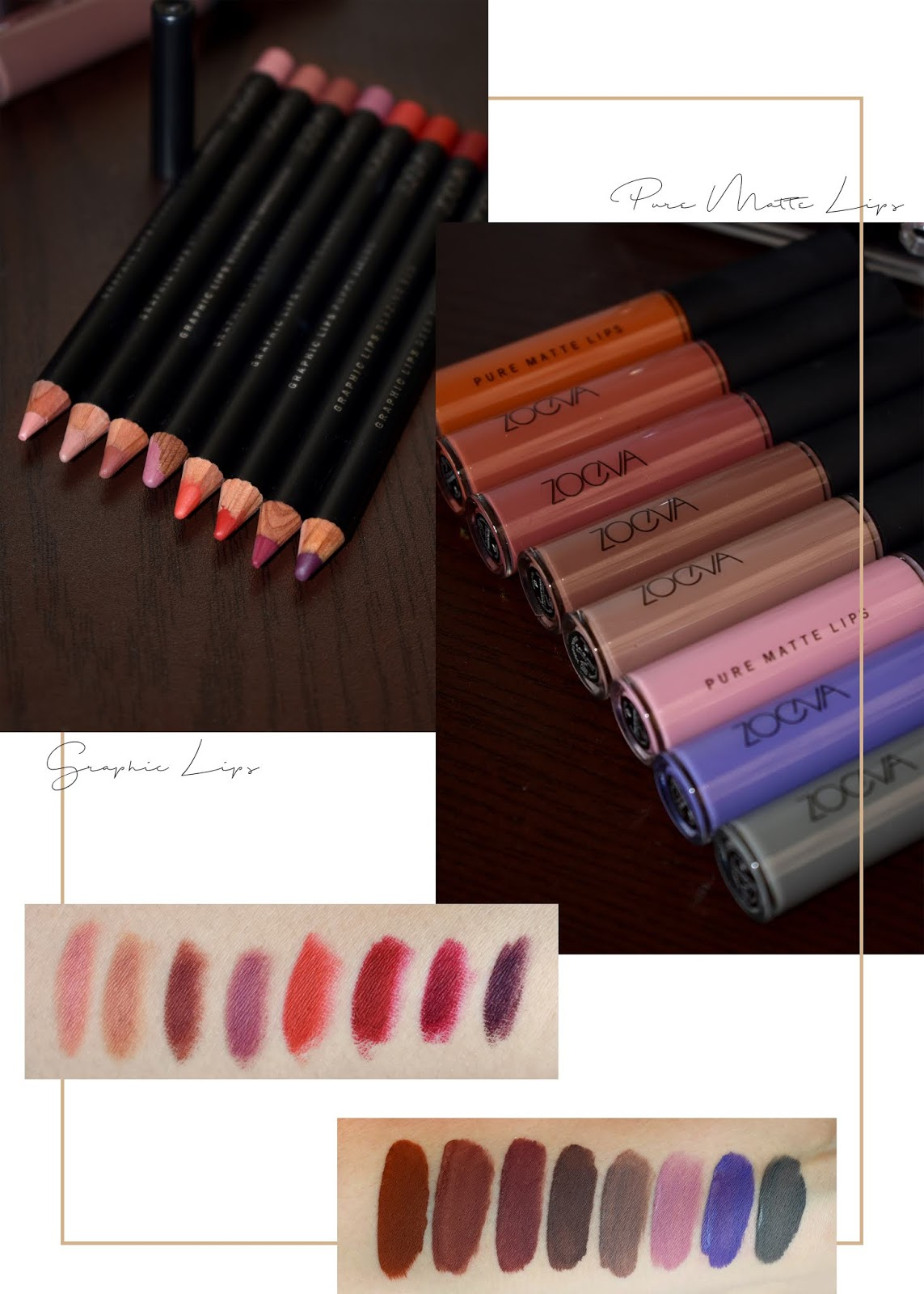 zoeva pure matte lips beauty blogger belleza mexicana maquillaje makeup look liquid lipstick swatches graphic liners 3