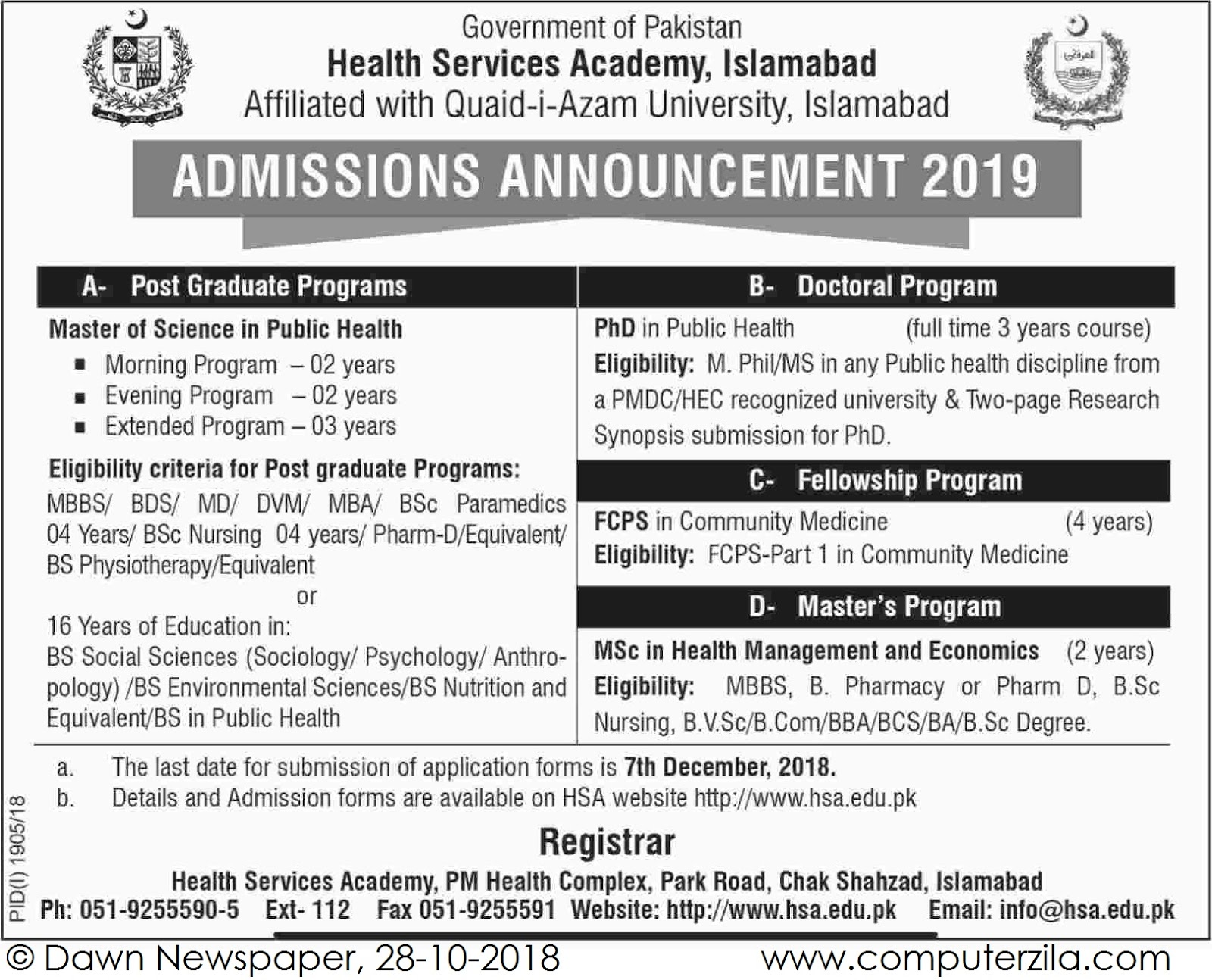 Admissions Open For Spring 2019 At HSA Islamabad Campus