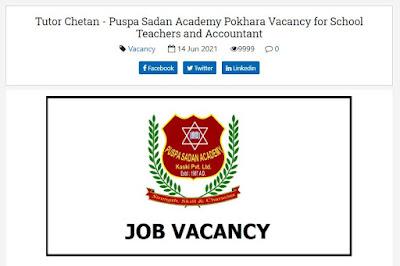 Tutor Chetan - Puspa Sadan Academy Pokhara Vacancy for School Teachers and Accountant
