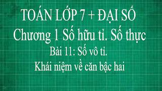 Toán lớp 7 Bài 11 Số vô tỉ. Khái niệm về căn bậc hai | thầy lợi