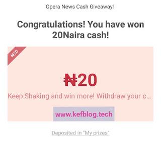 Congratulations you have won ₦20 cash prize