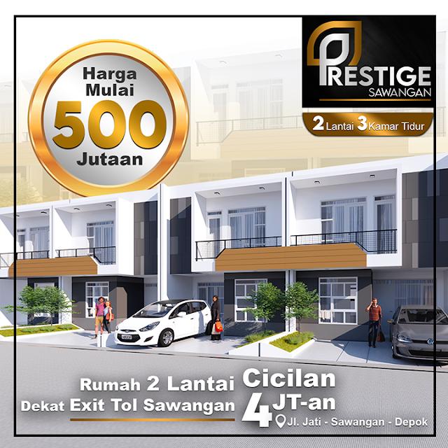 Perumahan Prestige Sawangan, Rumah 2 Lt Harga 500 Jt-an dekat Exit Tol Sawangan dan Stasiun Depok Lama,