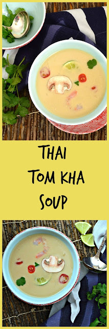 Tom Kha Soup from Thailand is easily made with chicken soup and coconut milk. Add some lime and a few other seasonings and you have one deliciously, simple soup. #ThaiFood #soup www.thisishowicook.com