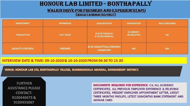 HONOUR LAB | Walk-In Drive for Production / Quality Control on 9th & 10th Oct 2020 at Hyderabad
