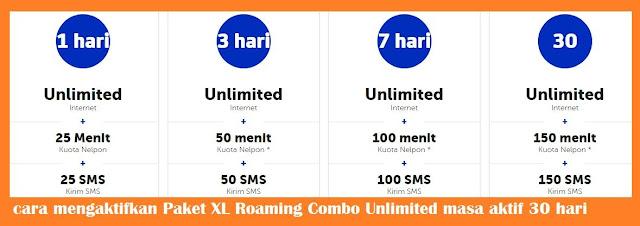 Paket internet XL roaming combo sangat cocok dan pas untuk kamu yang suka jalan jalan kel cara mengaktifkan Paket XL Roaming Combo Unlimited masa aktif 30 hari