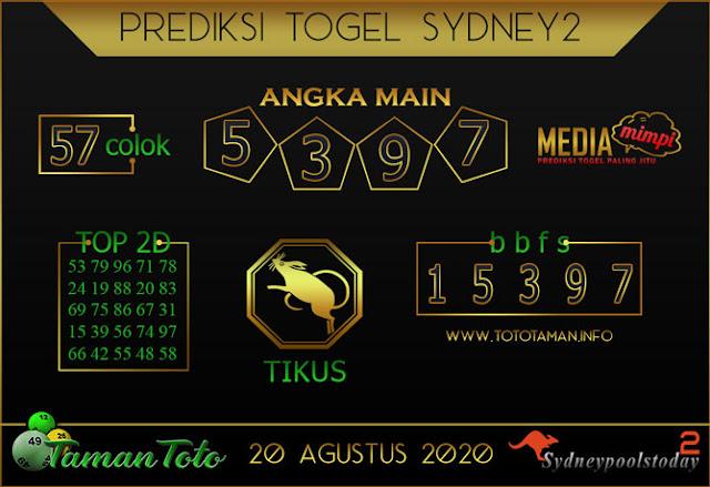 Prediksi Togel SYDNEY 2 TAMAN TOTO 20 AGUSTUS 2020