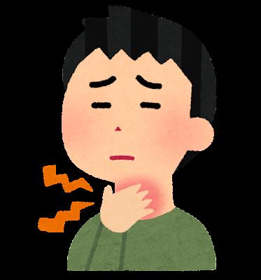 喉が痛い人のイラスト(男性)