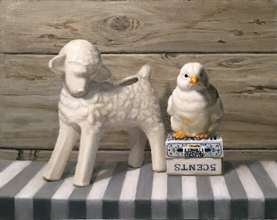 1950s pottery, lamb planter, ceramic chick