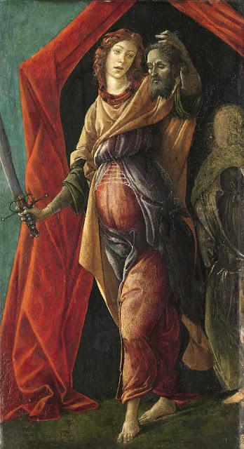 Alessandro Filipepi dit Botticelli (vers 1445 – 1510), Judith tenant la tête d'Holopherne, fin des années 1490, tempera sur bois, 36,5 x 20 cm, Amsterdam, Rijksmuseum, Legs de J.W.E. vom Rath, Photo : Rijksmuseum, Amsterdam