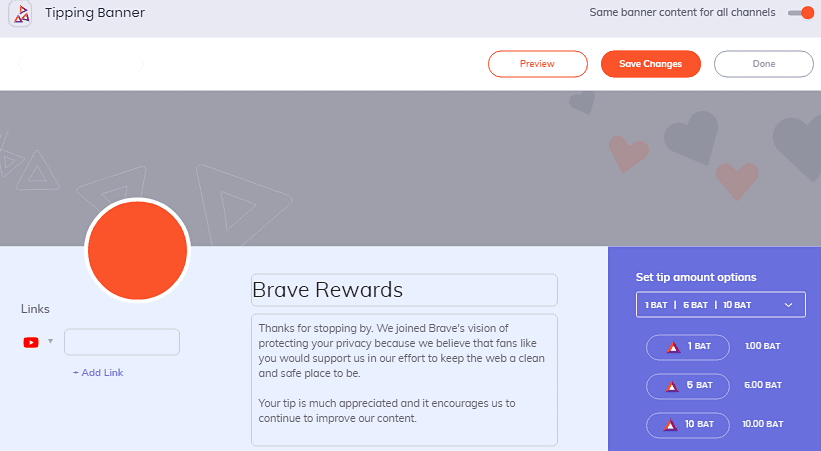 customize Brave Rewards