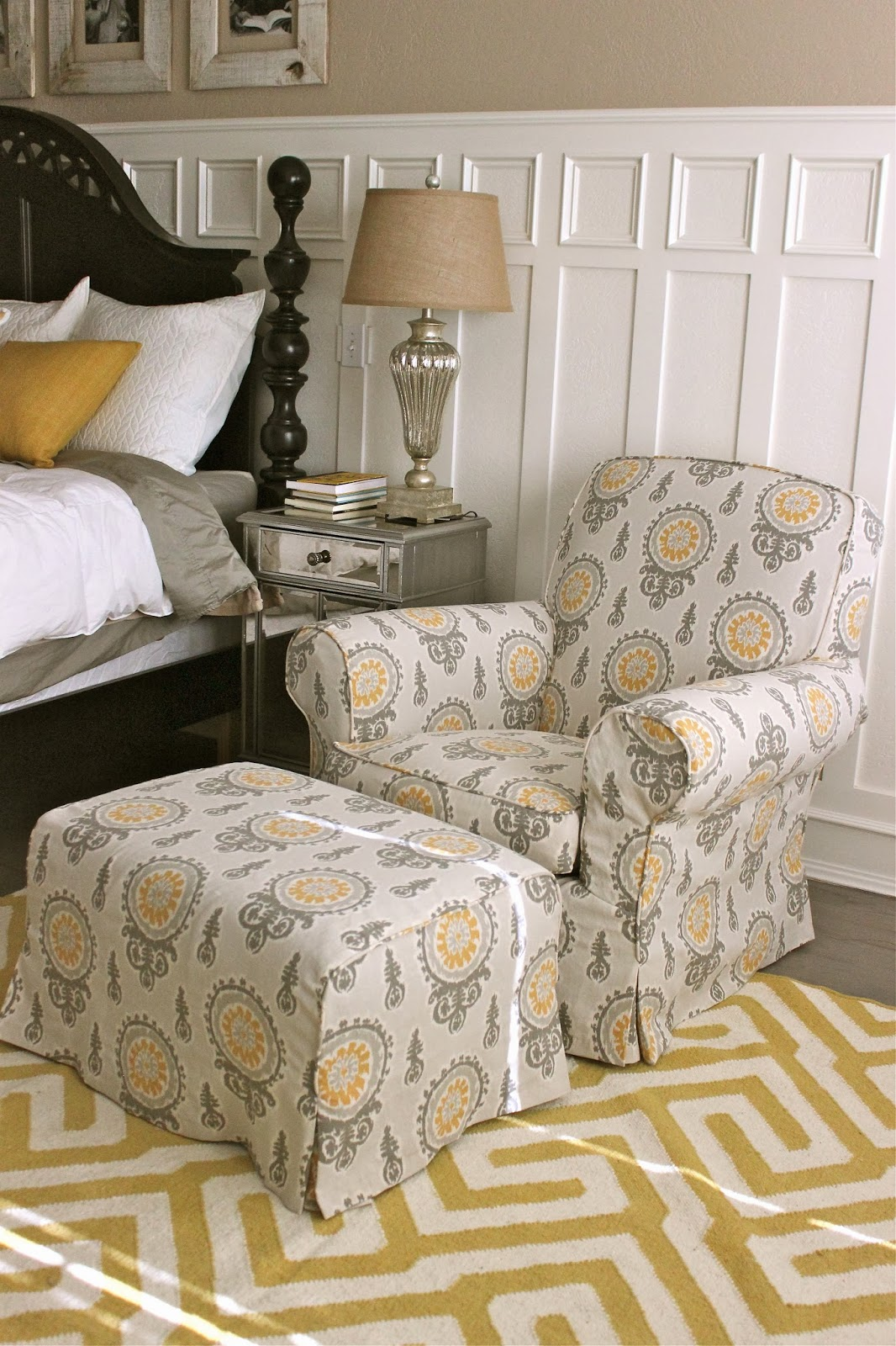 custom slipcovers by shelley gray yellow bedroom chair and ottoman. Black Bedroom Furniture Sets. Home Design Ideas