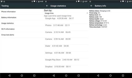 android testing menu code