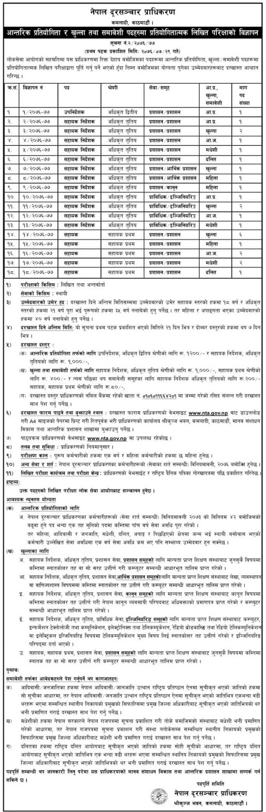 Jobs at Nepal Telecommunication Authority