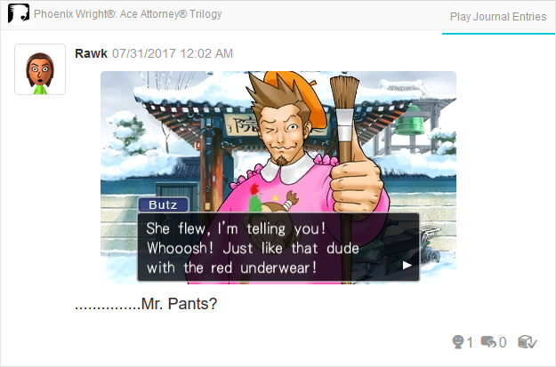Phoenix Wright Ace Attorney Trials and Tribulations dude with the red underwear flying