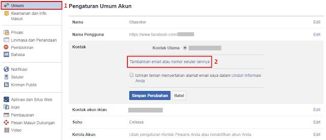 Menambahkan Nomor Telepon Di Akun Facebook