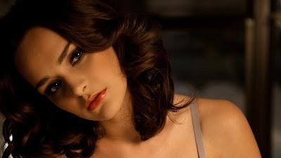 Busty girl Kristen Pyles slipsoff her lingerie during centerfold spread