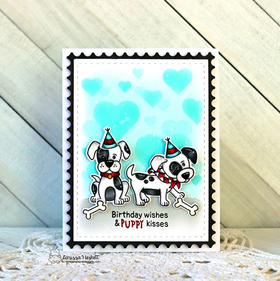 Puppy Birthday Card by Larissa Heskett | Puppy Playtime Stamp Set, Bokeh Hearts Stencil Set, and Framework Die Set by Newton's Nook Designs #newtonsnook #handmade