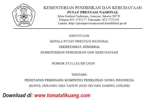 sk pemenang kopsi jenjang sma tahun 2020 secara daring online pdf tomatalikuang.com
