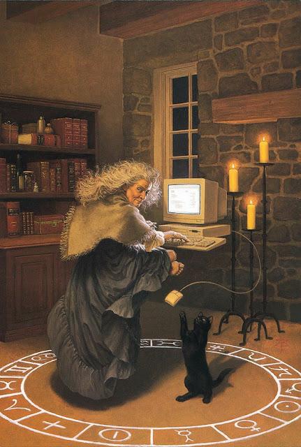 Ilustração representando um mago fazendo um ritual, dentro de um círculo através de um computador, em alusão à tecnomagia.